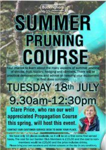 Buckingham Garden Centre - Summer Pruning Course